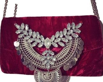 ON SALE Red Velvet Rhinestone Embellished Evening Bag, Purse, Clutch
