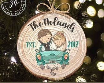 First Christmas just married vintage car wood slice ornament - great Christmas gift for newlywed couple  MWO-030