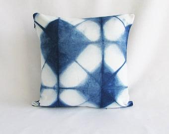 INDI 270 Shibori Irish linen Indigo fabric Accent pillow Scatter cushion Home and living Decorative cushion  interiors Linen cushion