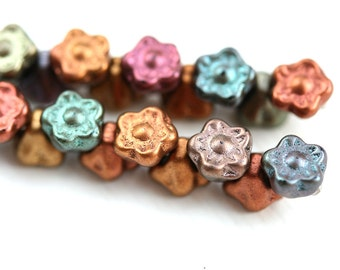 25pc Button style Flower beads, Matte Metallic Beads Mix in Old Gold, Copper, Purple, Czech glass floral beads - 7mm - 0390