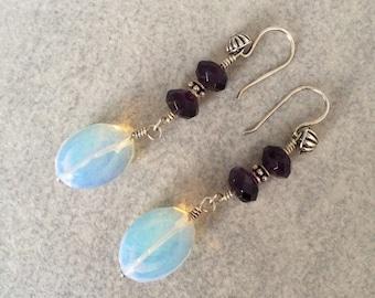 Sea Opal Glass, Amethyst and Sterling Silver Earrings, Woman's Jewellery, Gemstone Earrings, Gifts for Her, Drop Earrings