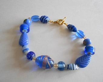 Blue Beads Bracelet Blue Bracelet Blue Glass Beads Glass Beads Bracelet Gold Tone Findings Womens Bracelet Teen Girls Bracelet