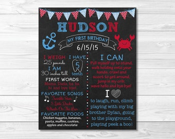 Cute Crab 1st Birthday Chalkboard Poster / Nautical Birthday / Crab Birthday / 1st Birthday Poster / Baby Boy / Photo Prop / PRINTABLE A296