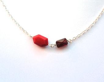 Red garnet bracelet, tiny facet bracelet, sterling silver handmade, genuine gemstone bracelet, small red jewelry, little garnet jewelry