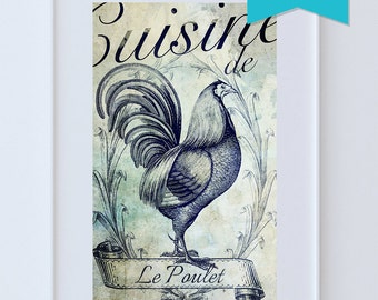 French Kitchen Decor Rooster Art Rustic Farmhouse Giclee Large Print on Satin or Cotton Canvas Poster Home Wall Art