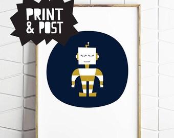 boys room poster, boys wall print, robot poster, robot print, robot illustration, robot gift