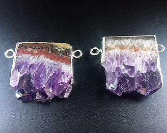 Natural Amethyst slice Pendants // Silver Amethyst // Quartz Druzy Pendant // Irregular stone jewelry B843