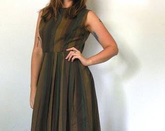 Vintage 50s Striped Olive Green Sleeveless Dress, Womens 50s Dress, Empire Waist Dress, Retro, Size Small