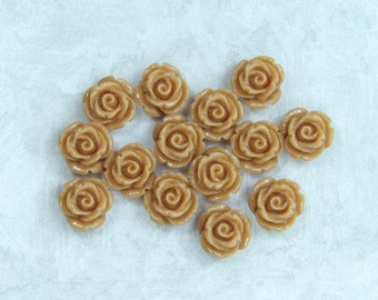 14 Brown Rose Cabochon Beige Cabochon Brown Flower Cabochon 11mm Rose Cabochon 11mm Beige Rose