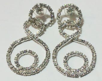 Vintage Circular Rhinestone Earrings