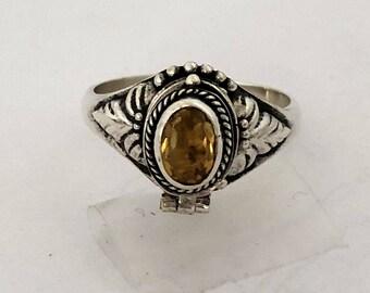 Yellow Citrine November Birthstone Poison Ring Bali Sterling Silver Locket Ring  AR08