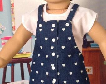Faux Button Jumper with shirt, denim jumper, A-line jumper. Jumper of dark blue denim with hearts, denim jumper with white shirt