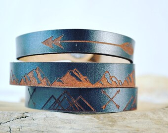 MOUNTAIN MAN thin leather cuff, gift for him, valentines gift