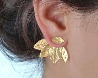 Ear Jacket Earrings, Ear Jackets Gold, Gold Jacket Earrings, Ear Cuff Jacket, Ear Pins, Two in One Ear Jackets, Leaf Ear Climbers, For Her