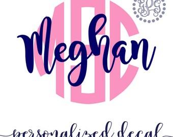 Name Monogram Decal, Personalized Laptop Sticker Initials, Monogram Sticker, Yeti Sticker, Monogram Car Decal, iPhone Sticker, Yeti Monogram