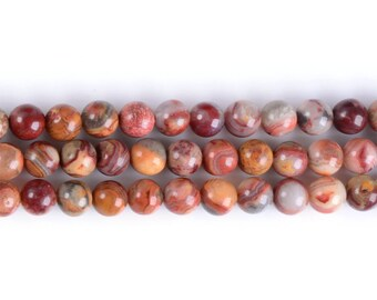 """6MM318 Red Crazy Lace Agate round ball loose gemstone beads 16"""""""