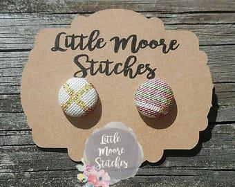 Christmas Plaid Fabric Button Earrings