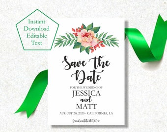 Save the Date Template, Greenery Save the Date Card, Save The Date Card Printable, Watercolor Flowers Save The Date Printable Template