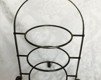 Antique Old Hotel Galvanized Metal Afternoon Tea Three Plate Tier Sturdy Rounded Feet