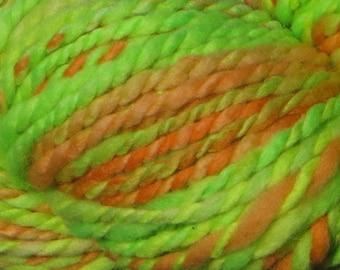 Handspun Hand-Painted Yarn - Merino Wool - 4 oz., 120 g., 190 yards - California Poppy - Bulky