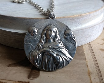 Huge Antique blessed Immaculate Conception Medal  - Catholic Religious whith sterling silver chain, Necklace Sterling Silver