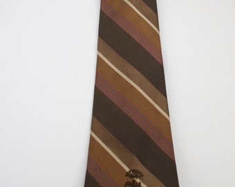 Vintage Countess Mara Brown Striped Polyester Tie