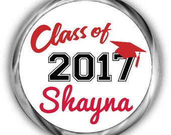 Class of 2018 Graduation Stickers • Personalized Graduation Hershey Kisses Sticker for Favors