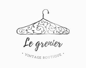 Vintage logo design, Logo boutique, Clothing logo, Premade logo, Custom branding, retro logo, hand drawn logo, blogger logo, Floral logo