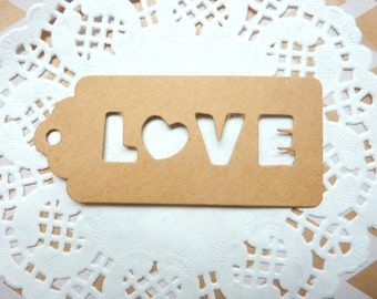 25 x Punched 'Love' Word Scalloped Brown Kraft Paper Tags