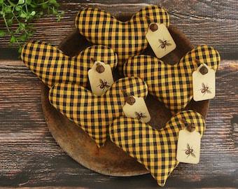 Primitive Heart Bowl Fillers ~ Homespun Fabric ~ Bumble Bee Hang Tags  ~ Spring Easter Basket Farmhouse Ornies Tucks