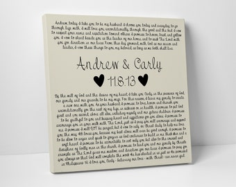 First Cotton Anniversary Gift, Wedding Vows on Canvas