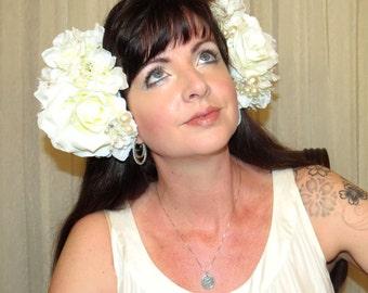 ART NOUVEAU BRIDE Creamy White, Soft Ivory and Pearls Headdress