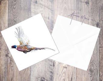 Pheasant Greeting Card 'Flushed' / Blank Inside