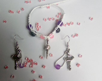 SET bracelet, earrings, silver dancer
