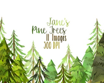 Watercolor Pine Trees Clipart - Watercolor Forest Download - Instant Download - Cute Conifers - Christmas Tree