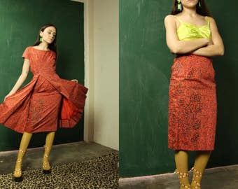 Vintage 1950s Red Coral Floral Print Dress and Skirt Set with Open Skirt and Glitter Detail Petite size Extra Small
