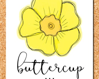 floral wall art: yellow buttercup