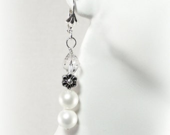White Vintage Inspired Pearl Earrings with Silver Flower