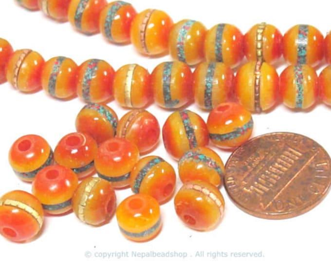 50 beads - 8 mm Tibetan honey yellow resin beads with brass ,turquoise coral inlay - ML109B