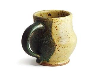 "8 oz ounce Unique Coffee Mug \ Tea Cup pottery Mug, Yellow & Green earth tone ""Mellow"", Wheel Thrown Pottery ceramic"