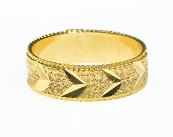 Gold Band Etched with Chevron Design Boho Bohemian Chic