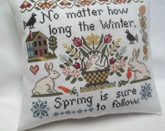 Spring Primitive Cross Stitch, Decorative Pillow, Bunnies, Carrots, Flower Basket, Long Winter