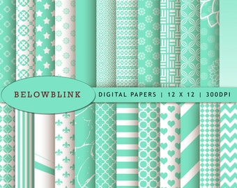 Cool Mint Digital Paper Pack, Scrapbook Papers, 24 jpg files 12 x 12 - Instant Download - DP250