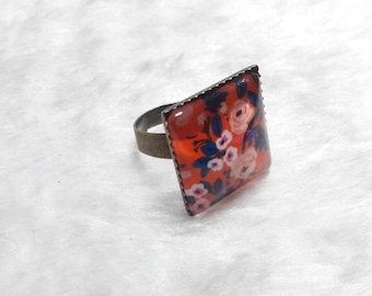 Red square bronze ring