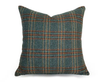 Green Wool Pillows, Plaid Cabin Pillows, Textured Pillow Covers, Green Rust  Pillow, Rustic Cushions, Rustic Fall Decor, Holiday 18x18 20x20