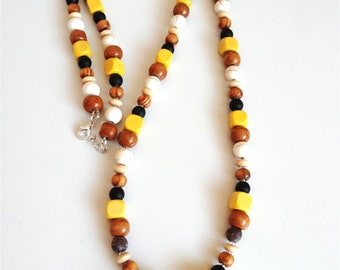 Unique beaded handcrafted necklacefrom wood, haulite, jasper, shungite, glass beads for women with tassel