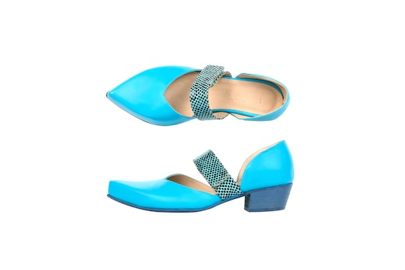 leather handmade pumps heel hook ADIKILAV blue strap blue loop shoes pointy light low Women's mottled with leather and dqtaXd