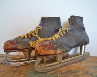 Vintage Mens Ice Hockey Skates in Black and Deep Red Leather