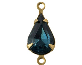 Vintage Montana Blue Glass Teardrop Stone in 2 Loop Raw Brass Setting 13mmx8mm par003MM2