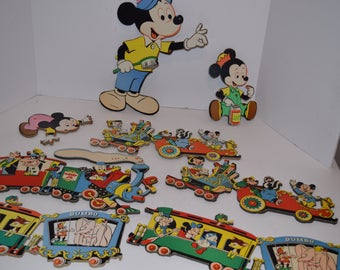 Vintage 1950's Set of 9 Disney Mickey Mouse Characters Cardboard Wall Hangings